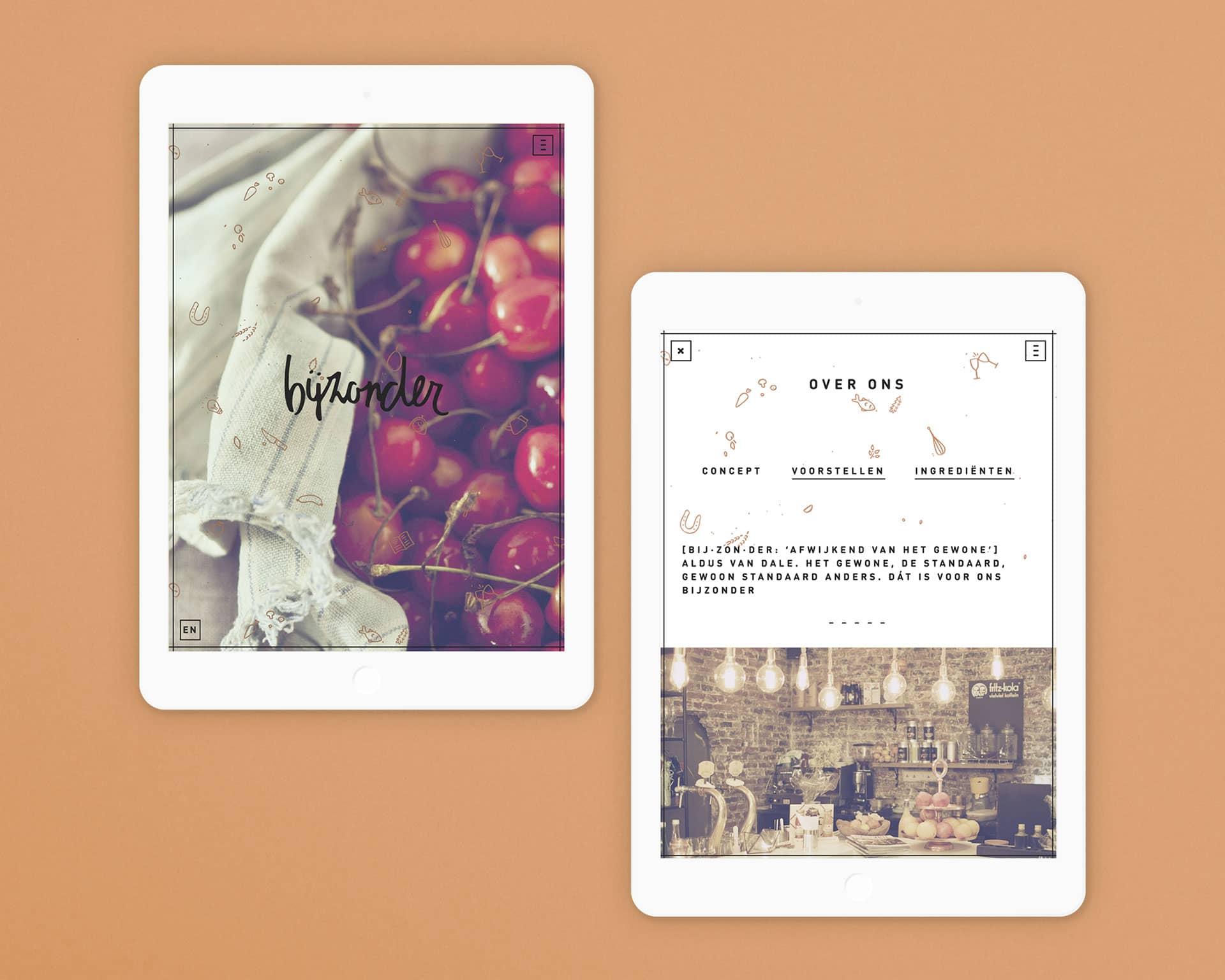 Website van restaurant Bijzonder op iPad ontwikkeld en ontworpen door Saus
