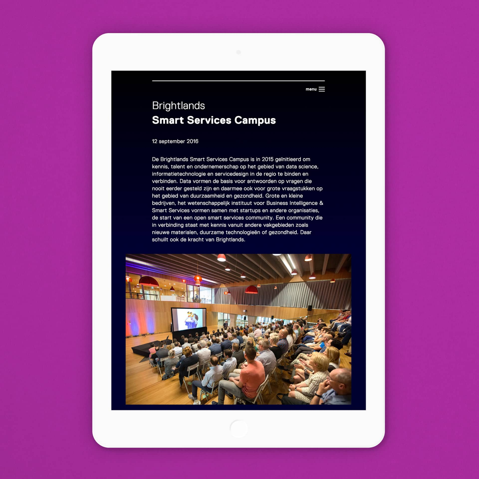 Mobile iPad website voor de opening van de Brightlands Smart Services Campus in Heerlen ontworpen en ontwikkeld door Saus