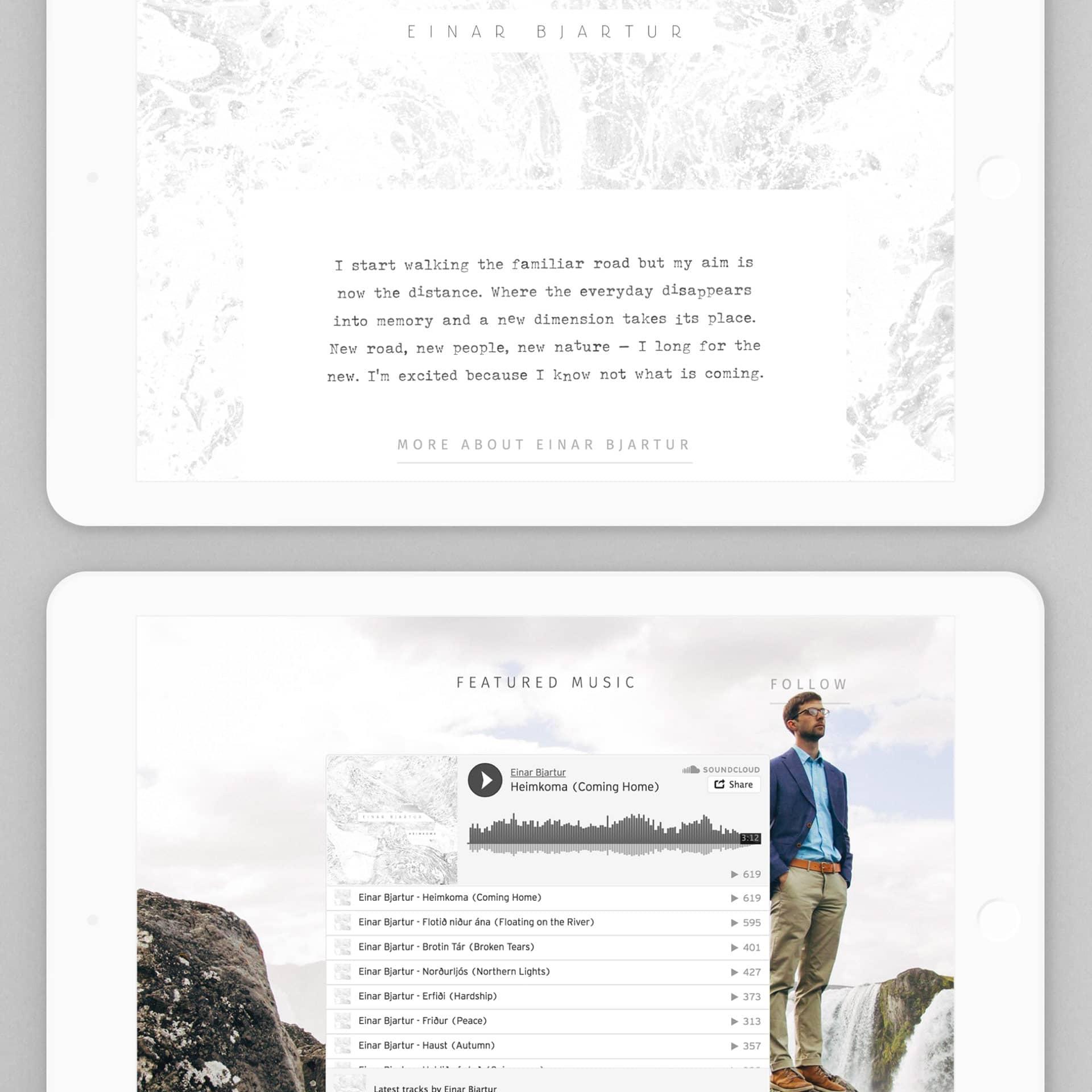 Website van Einar Bjartur Egilsson ontworpen door Saus
