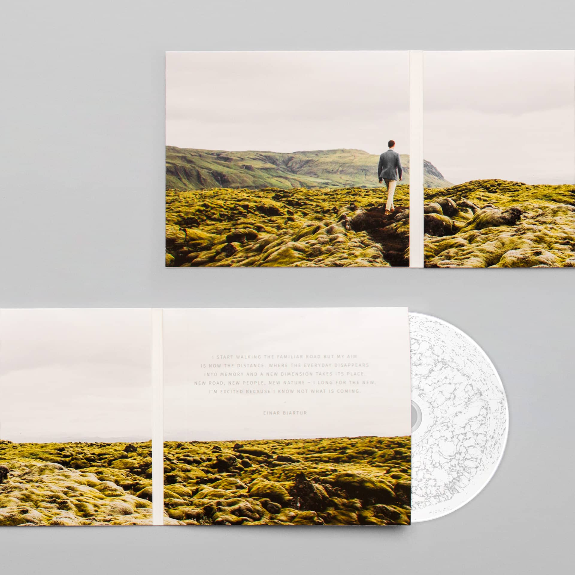 Album cover voor het debuut album Heimkoma van Einar Bjartur Egilsson ontworpen door Saus